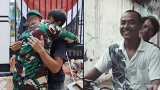 Prajurit Bertemu Teman Lamanya saat Jadi Kuli (Instagram/makassar_iinfo)