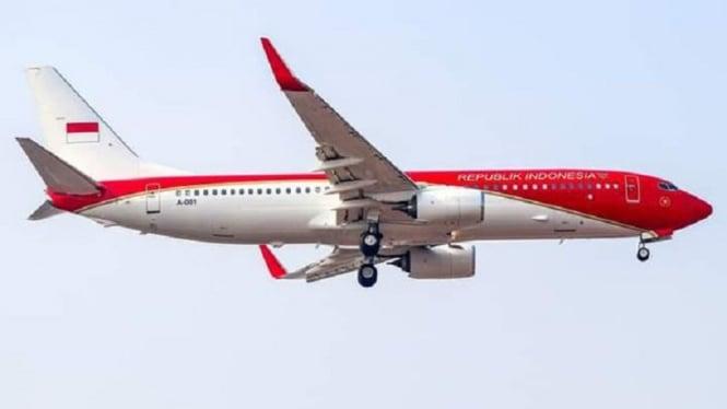 Cat badan pesawat Kepresidenan diganti merah putih