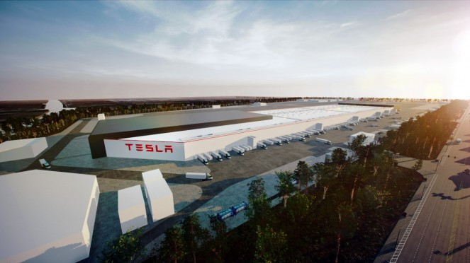 Pabrik Tesla Giga Shanghai di China.