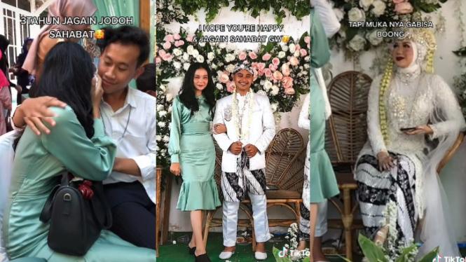 Viral Mantan Minta Foto Berdua Pengantin Pria di Pelamaninan (TikTok/dhianassyfa)