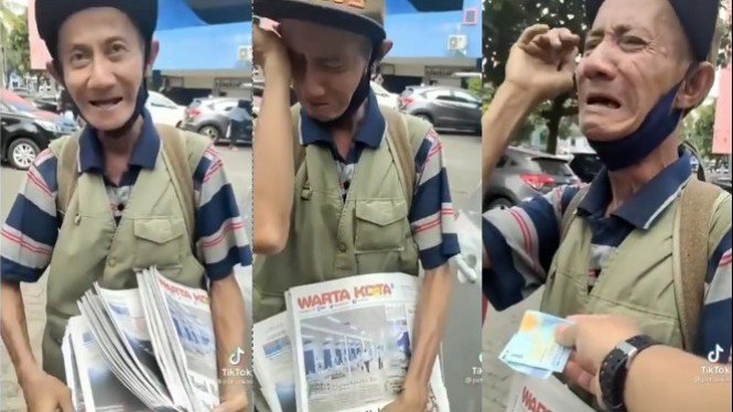 Viral Pak Tua Tukang Koran Menangis saat Diberi Uang (TikTok/petruskini)