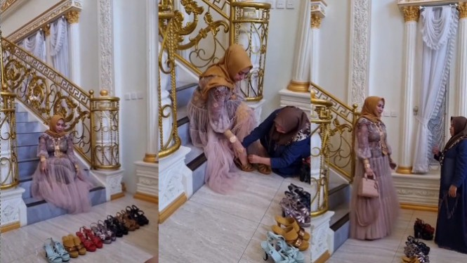 Viral Emak-emak Sultan Pamer Sepatu Mewah (Instagram/mak_lamis)