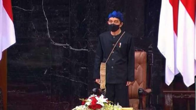Presiden Jokowi menghadiri sidang tahunan MPR RI pada HUT RI ke 76