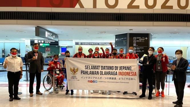Kloter pertama kontingen Indonesia di Paralimpiade Tokyo 2020 tiba di Jepang