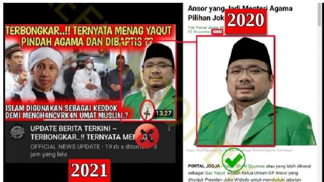 Foto hoax Menag Yaqut disbeut pindah agama