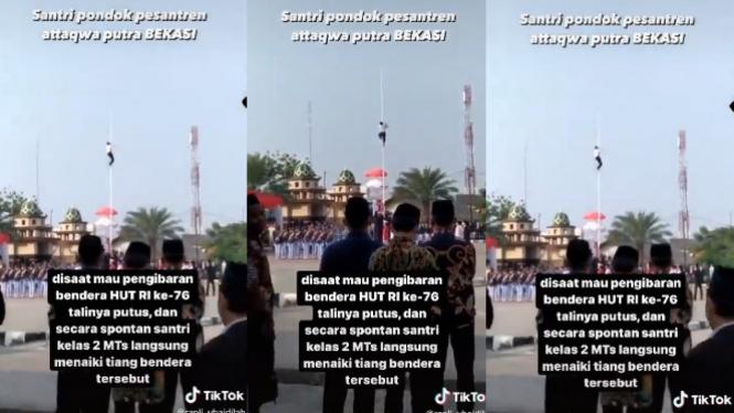 Santri Panjat Tiang Bendera HUT RI lantaran Talinya Putus (TikTok/rapli_ubaidillah)