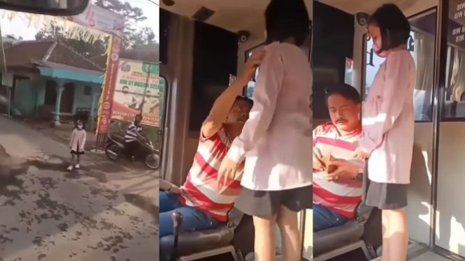 Viral Sopir Bus Berhenti di Pinggir Jalan Temui Anaknya (TikTok/radja7784)
