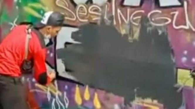 Gambar dinding atau mural di Ciledug dihapus