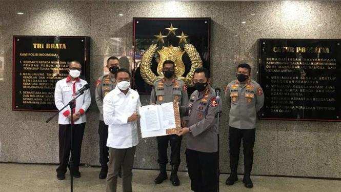 Kapolri Jenderal Listyo Sigit Prabowo dan Menpora Zainudin Amali