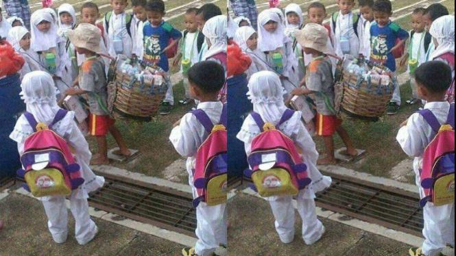 Beredar Foto Bocah Pemulung Jadi Tontonan Anak-anak sekolah (Instagram/Info_samarinda)