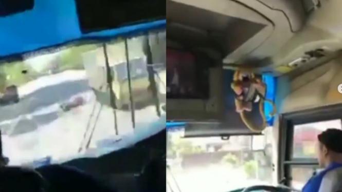 Detik-detik Penumpang Bus Merekam Perjalanan Berakhir Tabrakan (Instagram/lintas.patroli)