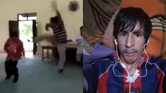 Kades ditedang warganya dan foto mirip Messi (kamerapengawas/indoviral8)