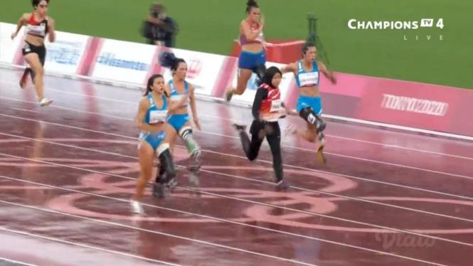Atlet para atletik Indonesia, Karisma Evi Tiarani, di final Paralimpiade