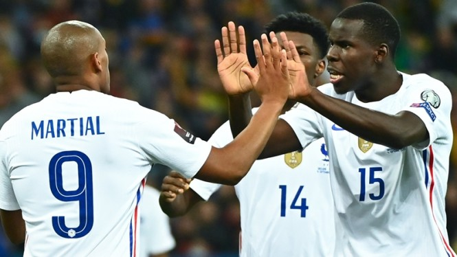 Pemain Timnas Prancis rayakan gol Anthony Martial