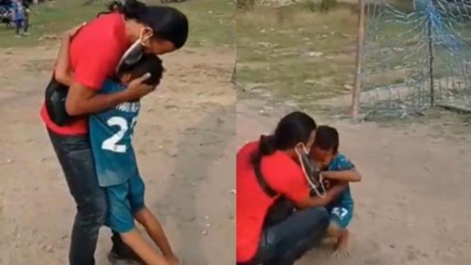 Anak Menangis di pelukan Bapaknya setelah 6 Tahun Tak Bertemu (Instagram/viralsekali)