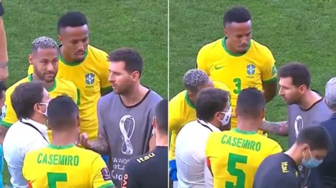 Kericuhan saat duel Timnas Brasil vs Argentina ditunda