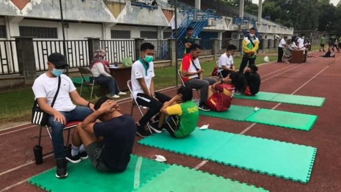 Atlet PON Sumut saat menjalani tes fisik jelang PON Papua