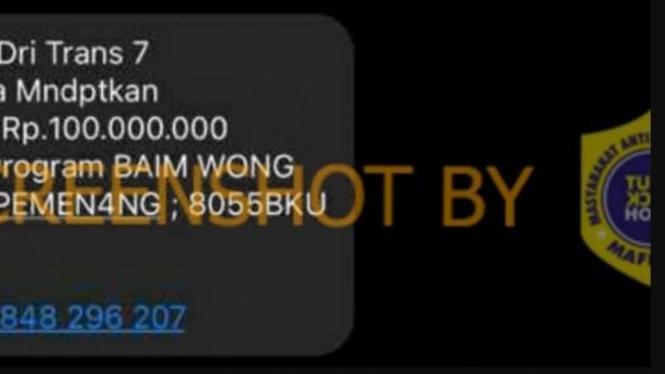 SMS Program Baim Wong bagi-bagi 100 juta hoax