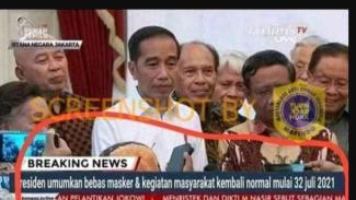 Tangkapan gambar dengan narasi hoax Presiden umumkan bebas masker