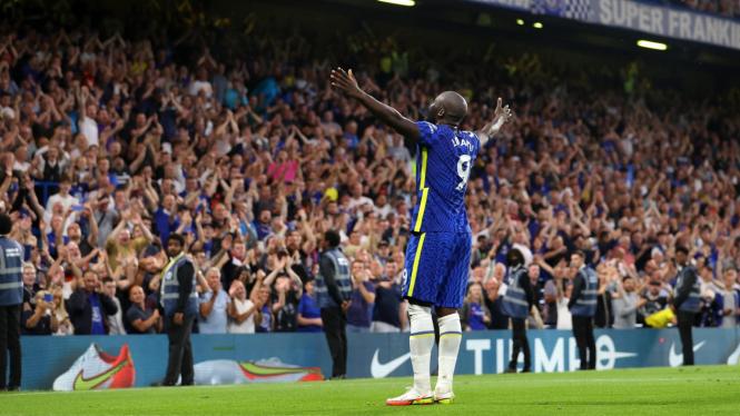 Bomber Chelsea, Romelu Lukaku rayakan gol