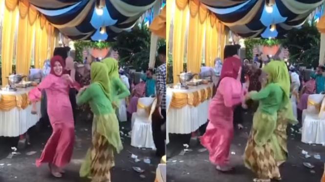 Heboh Ibu-ibu Berjilbab Joget TikTok di Acara Hajatan (Instagram/indoviral8)