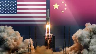 Amerika Serikat (AS) vs China di luar angkasa.
