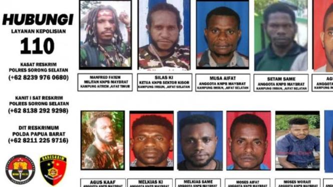 Foto wajah-wajah DPO kelompok Komite Nasional Papua Barat (KNPB) Maybrat penyerang Posramil TNI di Kisor, Maybrat, Papua Barat.