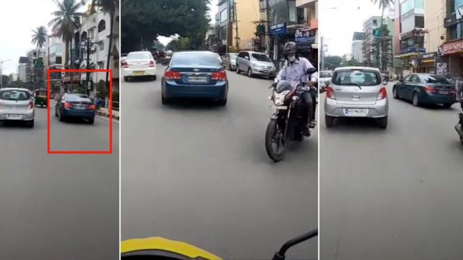 Pengemudi mobil ugal-ugalan di jalan raya.