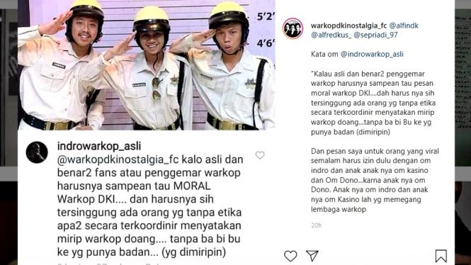 Aksi trio mirip grup lawak Warkop DKI dikomentari Indro Warkop