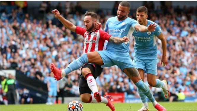 Pertandingan Manchester City vs Southampton.