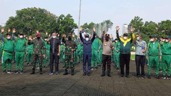 Upacara pelepasan atlet Sumut di Wisma Atlet Pemprovsu, di Kota Medan.