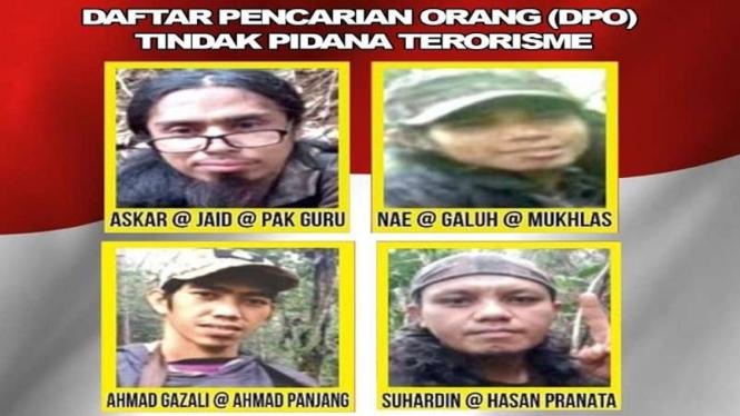 4 DPO teroris poso kelompok Mujahidin Indonesia Timur (MIT)