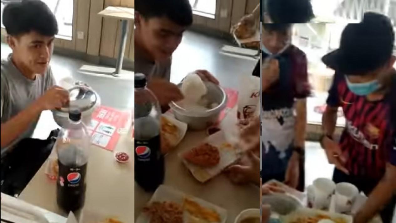 Viral Sekelompok Remaja Makan di KFC Bawa Nasi Sendiri (Instagram/indoviral8)
