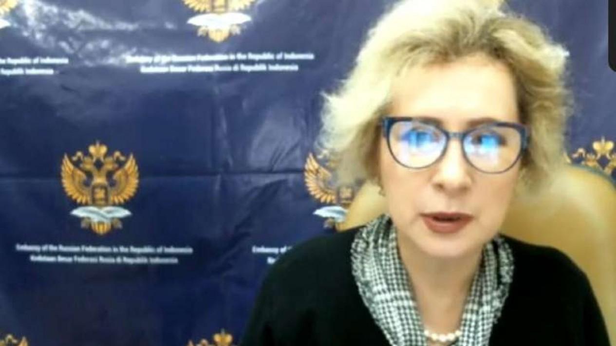 Dubes Rusia untuk RI saat konferensi pers virtual