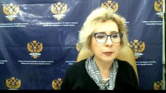 Dubes Rusia Lyudmila Vorobieva dalam konferensi pers