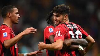 Pemain AC Milan rayakan gol Brahim Diaz.