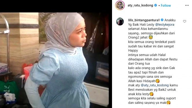Postingan pedangdut Aty Kodong yang tampilkan baby bump Lesti Kejora.