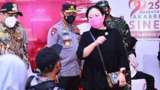 Ketua DPR Puan Maharani bersama Kapolri dan Panglima TNI.