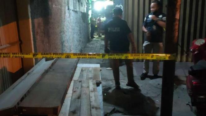 Lokasi gang dekat area penembakan Ustaz Alex