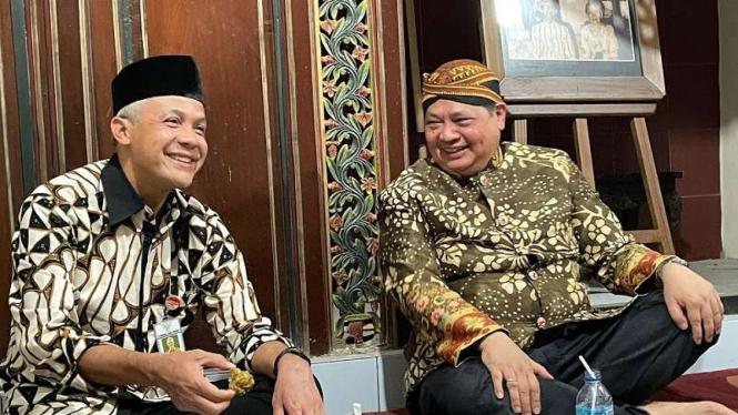Menko Perekonomian Airlangga Hartarto dan Gubernur Jateng Ganjar Pranowo