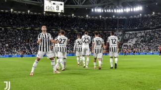Pemain Juventus merayakan gol Alvaro Morata
