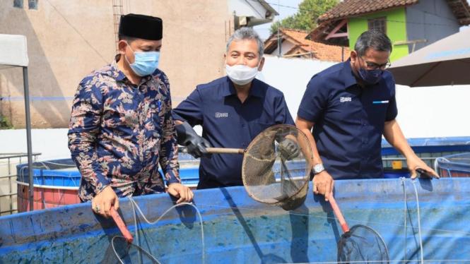 Direktur Utama BRI Sunarso mengunjungi Ekosistem Bisnis Klaster Ikan Jatihurup
