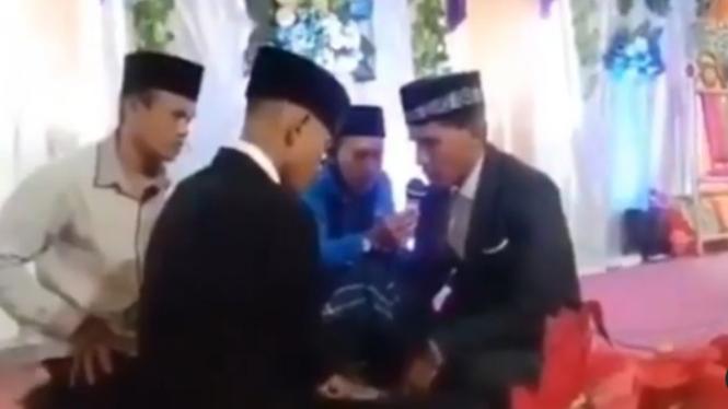 Viral Ijab Kabul Rusuh, Pengantin Pria Ditendang Mertua (Instagram/fakta.indo)