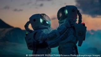Ilustrasi hubungan seks astronot di luar angkasa.