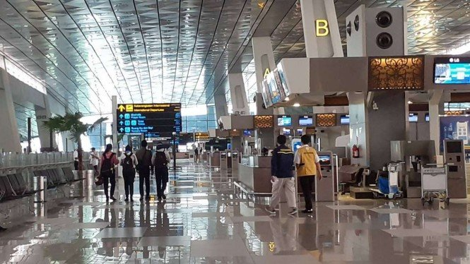 Suasana Bandara Soekarno-Hatta saat pandemi COVID-19.