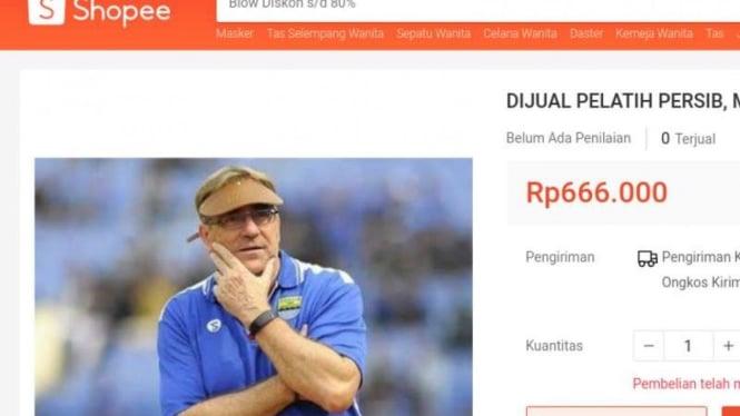Pelatih Persib Bandung, Robert Rene Alberts dijual di Shopee.