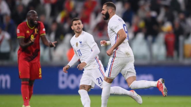 Karim Benzema mencetak gol di laga Prancis vs Belgia