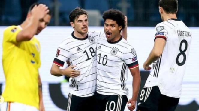 Pemain Timnas Jerman rayakan gol