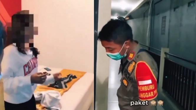Viral Ucapan Satpol PP Razia Penginapan, Misi Paket!  (Instagram/viralkak)