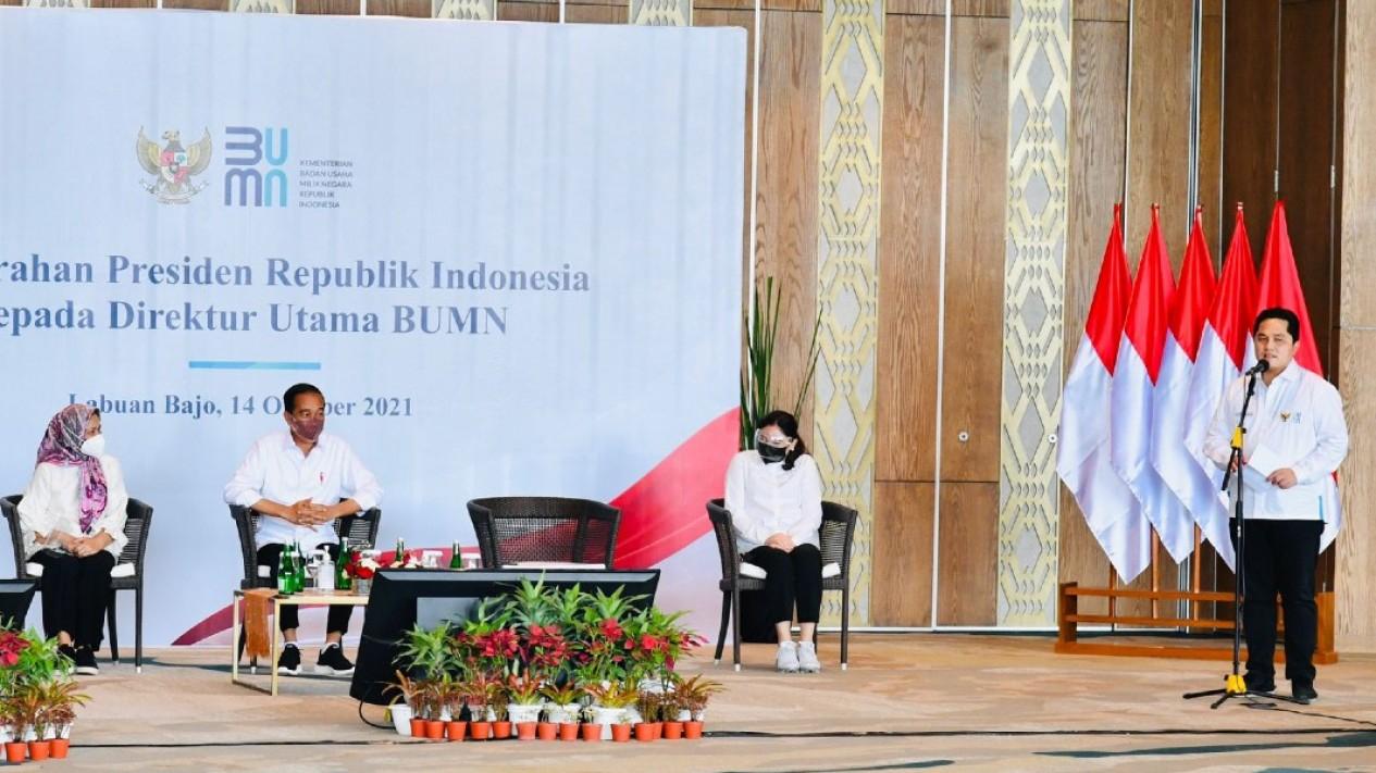 Presiden Joko Widodo dan Menteri BUMN Erick Thohir.